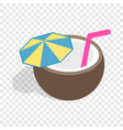 coconut cocktail isometric icon vector image vector image