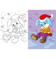 Coloring Book Of Bunny Sitting In The Snow vector image