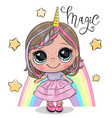 cute cartoon unicorn girl and a rainbow isolated vector image vector image