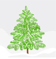 Fir winter snowy landscape christmas decoration vector image