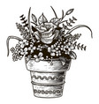 Flowers in a pot sketch isolated