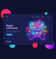 gamer website concept banner design vector image