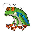 green frog with dizzy eyes vector image