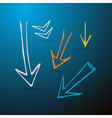 Hand Drawn Arrows on Dark Blue Background vector image vector image