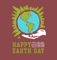 hand drawn earth day concept sketch human hands vector image
