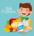 happy boy with nutrition food vector image