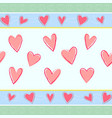 horizontal seamless pattern with hand drawn hearts vector image vector image