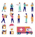 humanitarian aid characters flat isolated vector image