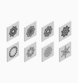 isometric icons with abstract symmetric symbols vector image vector image