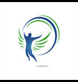 man flying with his wings freedom logo design vector image vector image