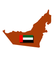 Map of Arab Emirates with flag vector image