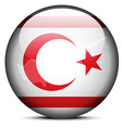 Map on flag button of Turkish Republic of North vector image