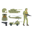 military vehicles weapon and soldier in army vector image