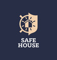 modern professional sign logo safe house vector image vector image