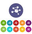 molecule molecular icons set color vector image vector image