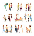 nurse cartoon characters decorative icons vector image vector image