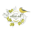 olive oil label design with yellow wagtail over vector image vector image