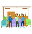 people in furniture store wardrobe and armchairs vector image
