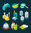 pharmaceutical and chemical industry isometric vector image