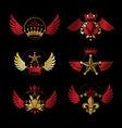 royal crowns and ancient stars emblems set vector image vector image