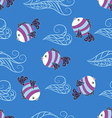 Seamless pattern with cute fish vector image