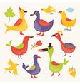 set a whimsical birds vector image vector image