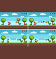 set of screens of level colorful pixel game vector image vector image