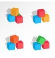 Set of tree cubes compositions Perspective view vector image