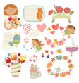 set with cute characters vector image vector image