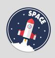 space rocket launch circle frame background vector image