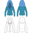 Template outline of hooded jacket vector image vector image