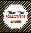 thank you 10000 followers banner for social media vector image vector image