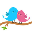 two birds sitting on tree branch bird hugging vector image