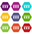 urban bridge icons set 9 vector image vector image