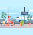 wait in airport cartoon flat vector image