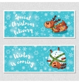 Winter horizontal banners with cute cartoon deer vector image