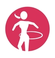 woman silhouette gymnastic with ring pink circle vector image vector image
