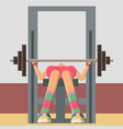 women are training on the simulator in the gym vector image