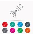 Gardening scissors icon Secateurs tool sign vector image