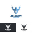 aviation logo design two vector image vector image