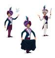 big top circus magician performing tricks icons vector image
