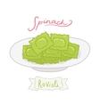cartoon hand drawn spinach ravioli vector image vector image