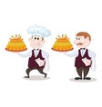 Cook and waiter with holiday cakes vector image vector image