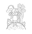 cute little girl with sun kawaii in the landscape vector image vector image