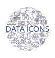 data icons line set vector image vector image