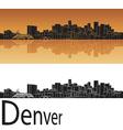 Denver skyline in orange background vector image vector image