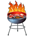 Different types of meat on the grill vector image vector image