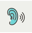 Ear thin line icon vector image vector image
