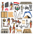egypt flag map and ancient pyramid gods temples vector image vector image