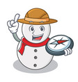 explorer snowman character cartoon style vector image